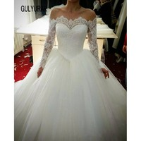 Robe De Mariage Custom Made Ball Gowns Wedding Dresses 2017 Luxury Wedding Dresses Long Sleeve Lace Dress