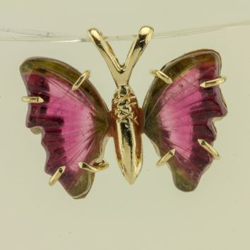 Watermelon Tourmaline 18kt yellow gold Butterfly Pendant