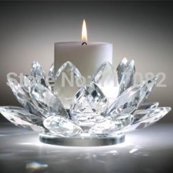 110mm 4.3inch top grade wedding and home decoration, crystal lotus flower candle holder