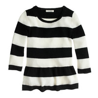 GIRLS' PEPLUM SWEATER IN RUGBY STRIPE