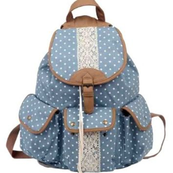 Sealike Polka Dot Lace Backpack Rucksack Handbag Book Bag for Girls
