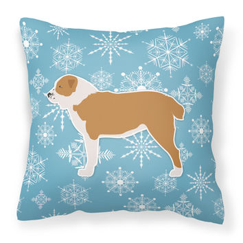 Winter Snowflake Central Asian Shepherd Dog Fabric Decorative Pillow BB3528PW1414