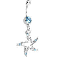 Aqua Gem Silvery Starfish Dangle Belly Ring | Body Candy Body Jewelry