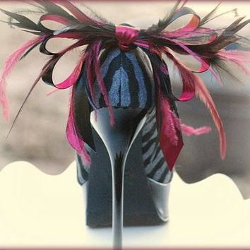 Shoe Clips Black & Burgundy. Anemone Plumes Bow Christian Louboutin Inspired. Sophisti
