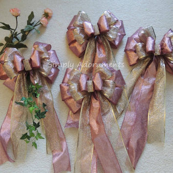 Pink and Gold Birthday Decor Pink Gold Baby Shower Decor Blush Gold Bridal Shower Decor Rose Gold Wedding Pew Bow Gold Pink Ceremony Decor