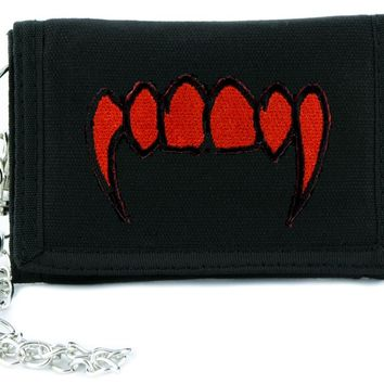 Blood Red Vampire Fangs Skull Tri-fold Wallet w/ Chain Occult Clothing