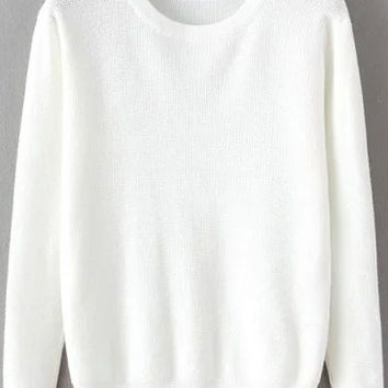 White Long Sleeves Ribbed Sweater