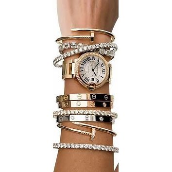 """Cartier"" Popular Women Men Chic Shiny Diamond Bracelet Screw Bracelet Couple Bracelet Accessories Jewelry I/A"