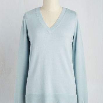 Minimal Mid-length Long Sleeve Versatile for Miles Sweater in Sky