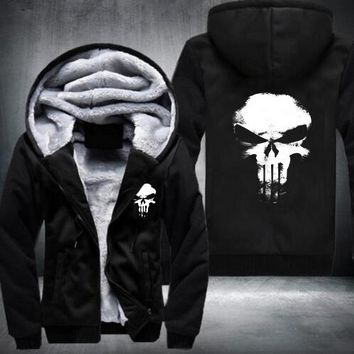 New Winter Warm Hoodies Anime skull Hooded Coat Thick Zipper men cardigan Jacket Sweatshirt USA Size fast ship 5-10