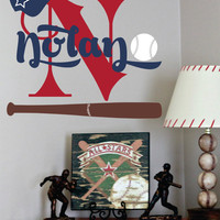 "Baseball Name Decal- Sports- Wall Decal for Boy Baby Nursery or Boys Room 28""H x 30""W Wall Art."