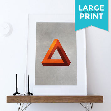 Mid Century Modern Print Geometric Pyramid Vintage Retro Abstract Art Print Large Poster Giclee on Satin or Cotton Canvas Wall Decor
