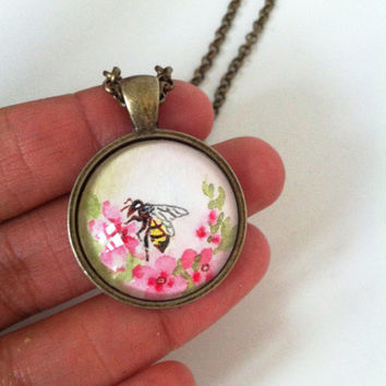 Bumblebee Necklace, Hand Painted Pendant, Nature Inspired Necklace Bumblebee Jewelry, Insect Jewelry, Save the Bees - Nature Lover Gift