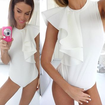 2016 Summer Women's Sexy Draped Bodysuit Ruffles Petal Sleeve Rompers Solid Color White Jumpsuit Plus size