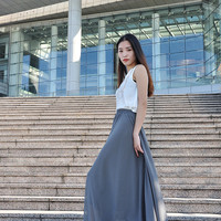 High Waist Maxi Skirt Chiffon Silk Skirts Beautiful Bow Tie Elastic Waist Summer Skirt Floor Length Long Skirt (037), #63