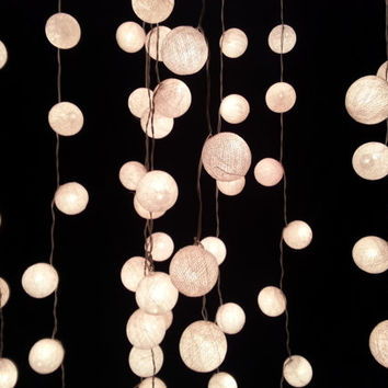 5 Packs of White Cotton Ball String Lights For Wedding House decoration and Party Supply (20 Balls /Set)