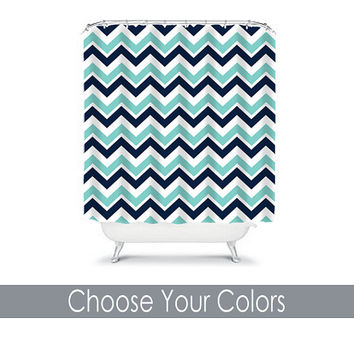 CUSTOM You Choose Colors Turquoise Aqua Navy Chevron Bathroom Bath Shower Curtain Polyester Made in the USA