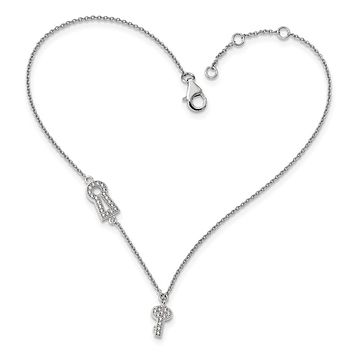 Sterling Silver & Cz Brilliant Embers Lock/key Anklet W/1in Ext