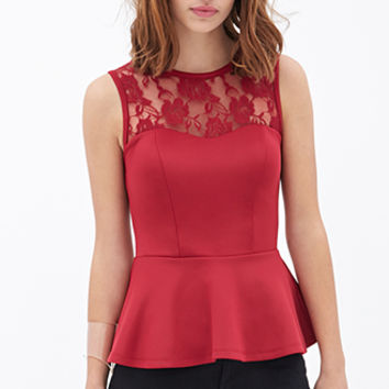 FOREVER 21 Lace Scuba Knit Peplum Top Red
