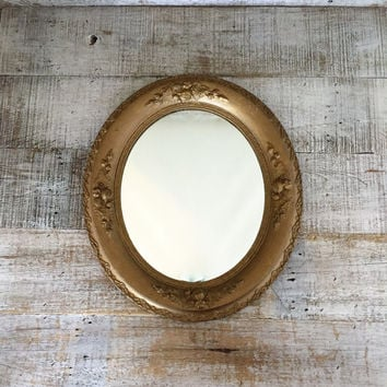 Wall Mirror Wooden Mirror Antique Gold Mirror Ornate Wood Mirror Carved Mirror Farmhouse Chic Decor Hollywood Regency Oval Hanging Mirror