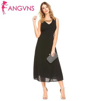ANGVNS Elegant Party Sleeveless Draped Backless Chiffon Dress Women Sexy V-Neck Slim Fit Maxi Dresses 2018 Spring New Vestidos