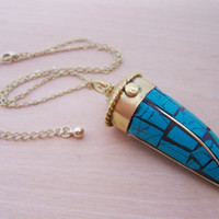 Large Turquoise Tusk Golden Brass Adjustable Necklace /  Gift for Her