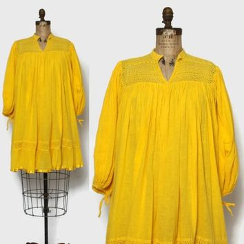 Vintage 70s Gauze Cotton DRESS / 1970s Billowy Balloon Sleeve Crochet Trim Loose Tent Dress