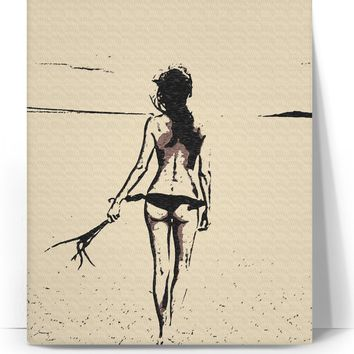 Freedom, hot bikini girl, topless woman at the beach, kinky adult canvas art print
