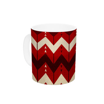 "Nick Atkinson ""Chevron Dance Red"" Ceramic Coffee Mug"