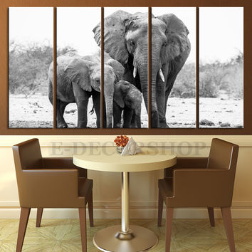 "Large Wall Art Canvas Wild Elephant Family Print, EXTRA LARGE 60""32"" Ready to Hang, Elephant Photo Print On Canvas,"
