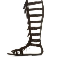 Black Knee-High Fringe Gladiator Sandals by Charlotte Russe