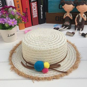 LMF78W 1 Pcs 2017 European Summer Straw Hats For Children Brand Beach Sun Hats Girl and Boy Caps 5 Colors 8529