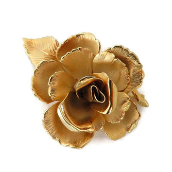 Lisner Gold Tone Rose Brooch, Vintage Matte Gold Tone Rose Pin, Birthday, Mother's Day Gift for Her