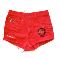 High Waist Shorts / Destroyed Studded & Embroidered by RomaniRose