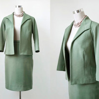 1960's Crimplene Suit - Edge to Edge Jacket - Pencil Skirt - Mod Classic Pale Green Vintage Suit - XS Small