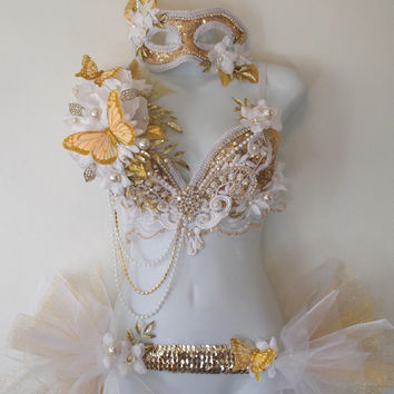 Gold and White Masquerade- Full Outfit, Bra, Bustle tutu, Mask