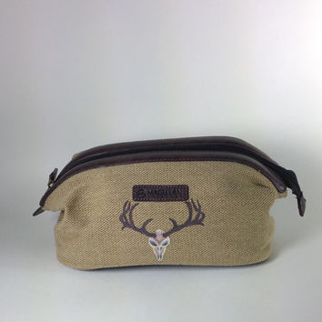 Men's Canvas Shave Kit Bag with Optional Monogram and Hand Painted Deer Horns