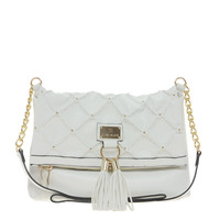 River Island White Quilted And Studded Tassel Messenger Bag