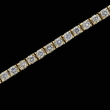 14k Yellow Gold Estate 3cttw 4 Prong Line Set Diamond Tennis Bracelet