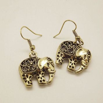 EQ021 Unique Tibetan Silver Hollow Out Carved Animal Elephant Drop Dangle Fashion Vintage Earrings For Women Gift Jewelry EQ108  35mm x 20mm