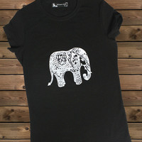 Women's Tshirt Elephant a Bike Ladies Black  T Shirt,Screen Printing T shirts,Women's T-Shirts,  Tshirt,Size S, M, L