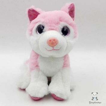 Pink Husky Dog Stuffed Animal Plush Toy 7""