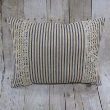 Ticking Stripe Pillow - Steel Blue Ivory Decorative Pillow - Intricate Embroidery Trim - Lumbar Pillow - Christmas Gift