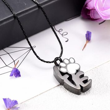 Love Letter With Paw Attached Memorial Jewelry for Pet Dog   Cremation Urn Ash Holder Urn Pendant Memorial Ashes Keepsake