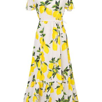Streetstyle  Casual Off Shoulder Ruffled Hem Fruit Printed Maxi Dress