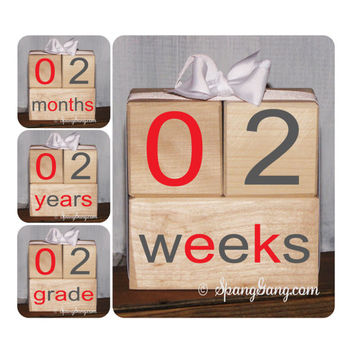 Gender reveal. Pregnancy/Baby announcement. Photography Prop. Baby shower gift. Monthly milestones. Baby Shower. Milestone Blocks.Grey Red