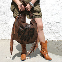 Aztec navajo tribal eagle fringe hobo brown leather bag distressed leather tote indian bohemian boho leather bag western southwestern