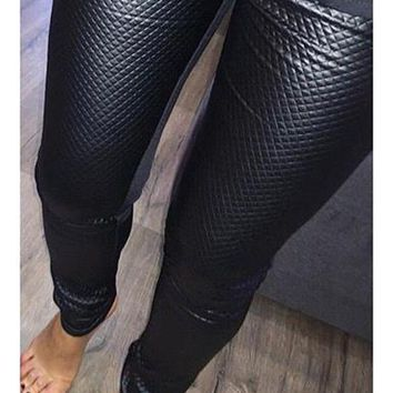 WMNS Quilted Pleather Leggings - Black
