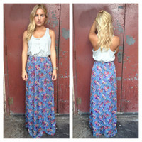 Grey Jersey Bodice with Floral Print Chiffon Maxi Dress