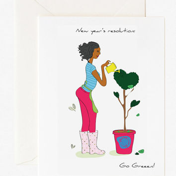 Go green, Greeting card -Illustrated stationery / Illustrated greetings cards / Fashionable & stylish stationery.